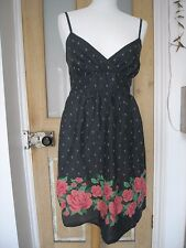 Divided Black x Pink Roses floral sleeveless camisole summer dress 8