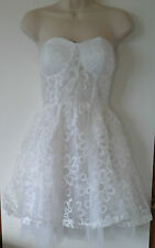 LADIES GIRLS TG White Lace Party / Prom Dress SIZE 8 WITH DETACHABLE STRAPS BNWT