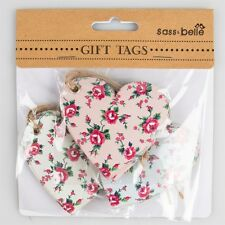 Set Of 15 Sass & belle Shabby Chic Petite Rose HEART Shaped Gift Tags/Labels