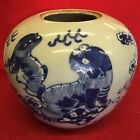 Antique Chinese Large Blue And White Ginger Jar Foo Fu Dogs Lion Height 17cm