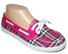NEW Hot Pink White black Plaid lace FLAT SLIP ON MOCCASIN LOAFER Boat Shoes 7.5
