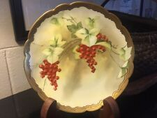 "PICKARD LIMOGES FRANCE HAND PAINTED CURRANTS 8 7/8"" PLATE SIGNED BEITLER"