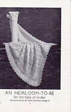 "Baby's heirloom châle ~ dentelle ~ 2 plis ~ knitting pattern ~ 43 x 43"" (vintage 100)"