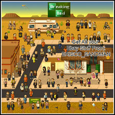 Fridge Fun Refrigerator Magnet BREAKING BAD Pixel Style-100 Characters Sheet