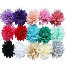 New 15 Lot Chiffon flower clip for Corsage headband hair bow Craft baby girl DIY