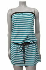 Juicy Couture Beach strapless blue white metallic stripe coverup sz L