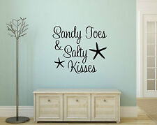 SANDY TOES & SALTY KISSES Beach House Vinyl Wall Decal Decor Words Lettering