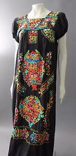 HEAVILY EMBROIDERED Vintage MEXICAN Festival Boho Hippie Black MAXI DRESS S M