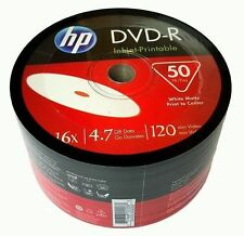 50 HP 16x White Inkjet Hub Printable DVD-R Disc Free Expedited Shipping