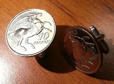 1973 Greek Pegasus Divine Winged Horse Vintage Greece Silver Tone Coin Cufflinks