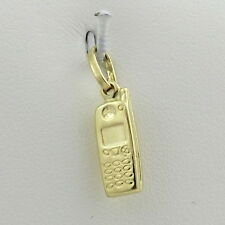 14K YELLOW GOLD 3D OLD STYLE CELLULAR CELL MOBILE PHONE CHARM PENDANT 0.8gr