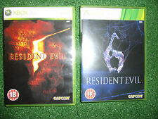 2 x XBOX 360 jeux resident evil 5 v & 6 vi + cases instructions complet pal gwo