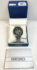 New Seiko SSC511 Solar Chronograph Stainless Steel Black Dial Men's Watch
