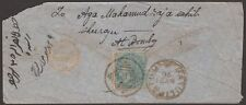 India 1870 QV 1/2 una sovrastampa usato su COVER W masulipatum TIMBRO POSTALE + Hyderabad Mark
