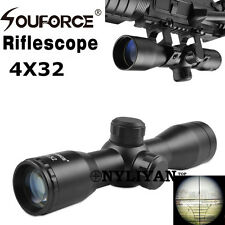 Hot 4X32 Rangfinder Reticle Optic Rifle Scope&20mm rail Mounts for Rifle Hunting
