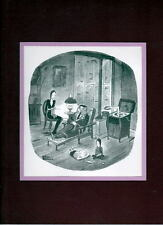 Chas Addams ADDAMS FAMILY - 'A QUIET FAMILY NIGHT' MATTED PRINT Frame Ready