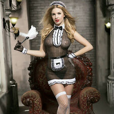 WOMENS LADIES SEXY FRENCH MAID COSTUME HEN FANCY ROLE PLAY OUTFIT INC DUSTER