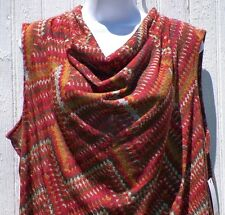 Womens Size 2X Knit Top Cowl Neck Sleeveless Cinnabar Combo Rafaella New Tags