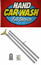 3x5 Advertising Hand Car Wash Full Service Flag Aluminum Pole Kit Set 3'x5'