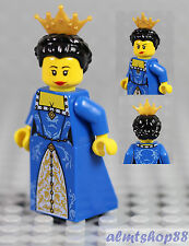 LEGO - Female Minifigure Blue/Gold Dress & Black Hair w/ Crown Princess Castle