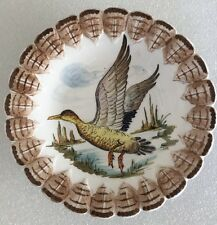 Italian Hand Painted Wall Plate With Flying Goose Water Fowl Duck