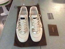 100% Auth Gucci Women's White Leather Trainers Sneakers Shoes Size EU 40  UK 7