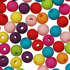 400 Mixed Colour Acrylic Opaque Round Frosted Beads 6mm