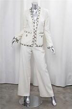 CHANEL 02P White Silk Weave Brass Ring Detail Pant Suit / Outfit s.36