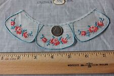 Vintage Tiny Doll Scale Swiss Hand Embroidered Child's Rose Collar Sample