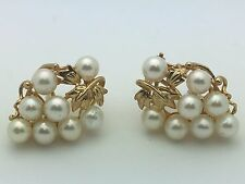 Brand New 14K Yellow Gold Grapes Shape Earrings with Round Fresh Water Pearls