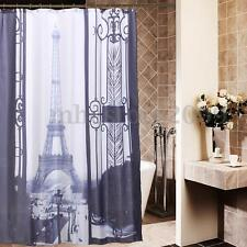 Paris Eiffel Tower Waterproof Fabric Bathroom Shower Curtain 60x72'' + 12 Hooks