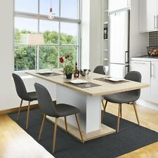 Wooden Extendable Dining Table In Wild Oak Middle Part Pull-in-Out Space Saving