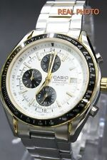 EF-503SG-7A Gold White Casio Watch Men's Black Stopwatch Date Stainless Steel
