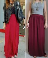 BURGUNDY RED JERSEY LONG BOHO MAXI SKIRT 6 8 10 12 14 16 PETITE REGULAR TALL