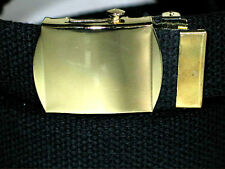 """Canvas BLACK Military WEB Style Fabric Belt GOLD Metal Buckle 1 1/2"""" X 50"""""""