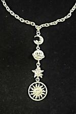 COOL RETRO AZTEC CHUNKY SILVER MOON STARS SUN UNIVERSE NECKLACE SCI-FI (CL13)