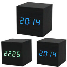 USPS Wood Cube LED Alarm Control Digital Desk Clock Wooden Room Temperature US