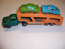 VINTAGE TIN JAPAN AUTO TRANSPORT TRAILER AND CARS