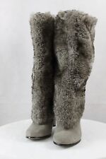 $259 ~ Women's SAM EDELMAN SHALIN Faux Fur Suede Knee High Pull on Heel Boots 6M