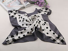 Large Square Silk Twill Scarf Black and White Polka Dot Print XWC077