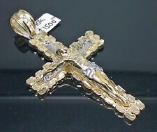 10K Yellow Gold Nugget Cross With Diamond Cuts #A10B0 Jesus/Cross/Angel