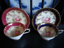 PARAGON BONE CHINA c. 1940 TEA CUP & SAUCERS, COBALT, RED W/GOLD & ROSES, FLORAL