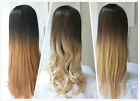 Ladies 3/4 Wig Fall Clip In Hairpiece Ombre Dip dye Wavy Straight Lace UK seller