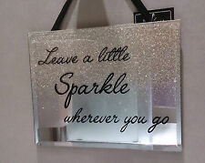 "Glitter Sparkling Gold Glass Mirrored Wall Plaque ""Leave a Little Sparkle...."""