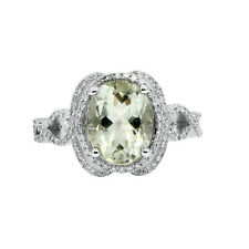 14K WHITE GOLD PAVE DIAMOND GREEN AMETHYST HALO COCKTAIL ENGAGEMENT HALO RING