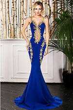 Blue Lace Applique Mermaid Tail Long Dress Evening/Party Wear Size M & L