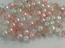 100 austrian crystal glass bobine biconique perles et perles-rose/whiteab mix - 4mm