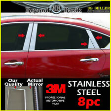 Fits 13-17 NISSAN ALTIMA 8pc STAINLESS STEEL Chrome Pillar Posts Trim Overlays