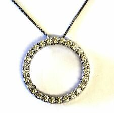 "14k white gold 1.6ct SI1 VS2 G diamond eternity circle pendant 8.4g 18"" necklace"
