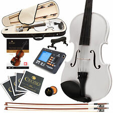 CECILIO SIZE 4/4 SOLIDWOOD STUDENT VIOLIN METALLIC WHITE +TUNER+BOOK